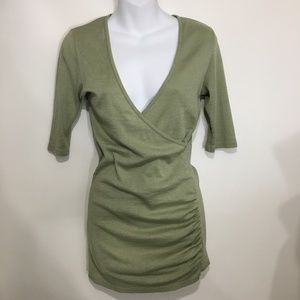 Michael Stars Green V-Neck Long T-Shirt One Size